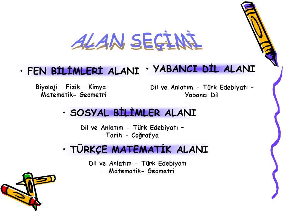• FEN BİLİMLERİ ALANI Biyoloji – Fizik – Kimya – Matematik- Geometri • SOSYAL BİLİMLER ALANI Dil ve Anlatım - Türk Edebiyatı – Tarih - Coğrafya • TÜRK