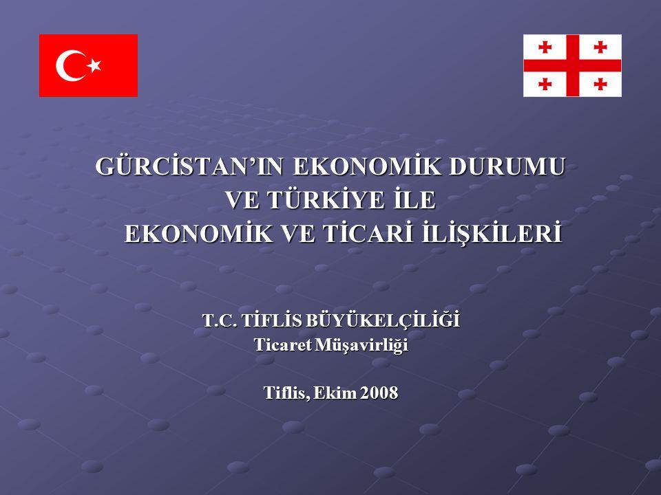 GÜRCİSTAN'IN EKONOMİK DURUMU VE TÜRKİYE İLE EKONOMİK VE TİCARİ İLİŞKİLERİ T.C. TİFLİS BÜYÜKELÇİLİĞİ Ticaret Müşavirliği Tiflis, Ekim 2008