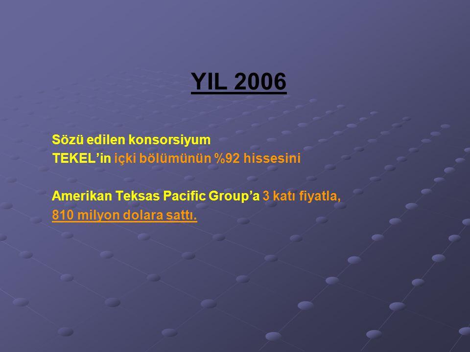 YIL 2006 Sözü edilen konsorsiyum TEKEL'in içki bölümünün %92 hissesini Amerikan Teksas Pacific Group'a 3 katı fiyatla, 810 milyon dolara sattı.