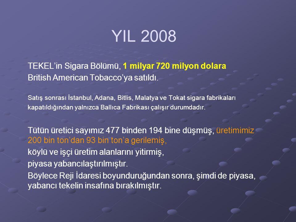 YIL 2008 TEKEL'in Sigara Bölümü, 1 milyar 720 milyon dolara British American Tobacco'ya satıldı.