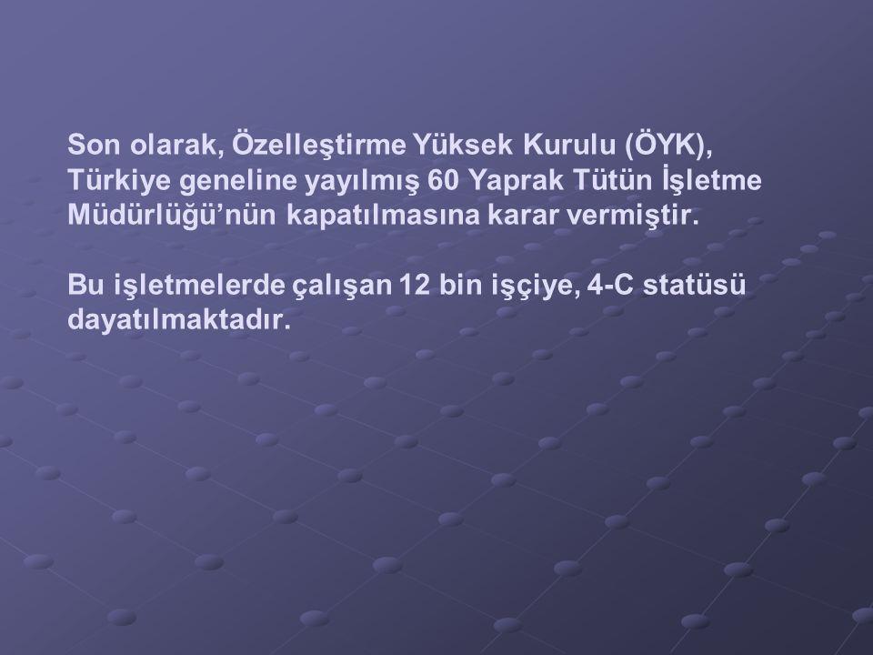 Son olarak, Özelleştirme Yüksek Kurulu (ÖYK), Türkiye geneline yayılmış 60 Yaprak Tütün İşletme Müdürlüğü'nün kapatılmasına karar vermiştir.