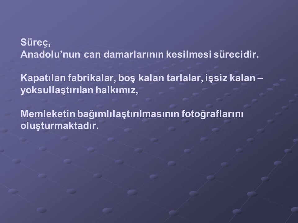 Süreç, Anadolu'nun can damarlarının kesilmesi sürecidir.