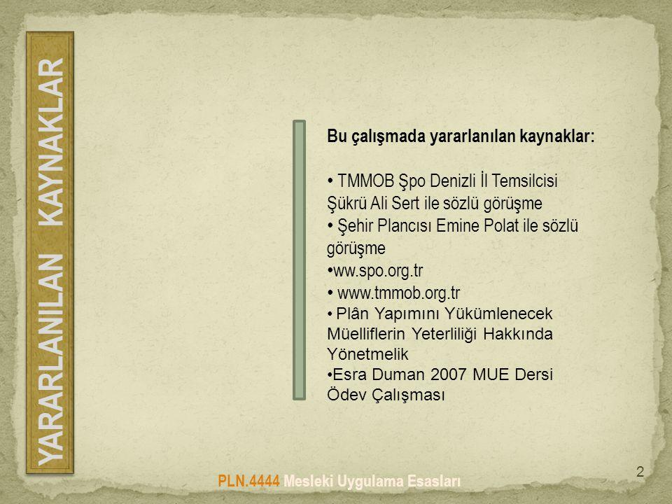 Bu çalışmada yararlanılan kaynaklar: • TMMOB Şpo Denizli İl Temsilcisi Şükrü Ali Sert ile sözlü görüşme • Şehir Plancısı Emine Polat ile sözlü görüşme