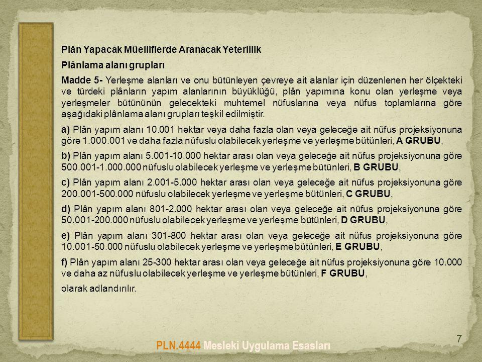 PLN.4444 Mesleki Uygulama Esasları 7 Plân Yapacak Müelliflerde Aranacak Yeterlilik Plânlama alanı grupları Madde 5- Yerleşme alanları ve onu bütünleye