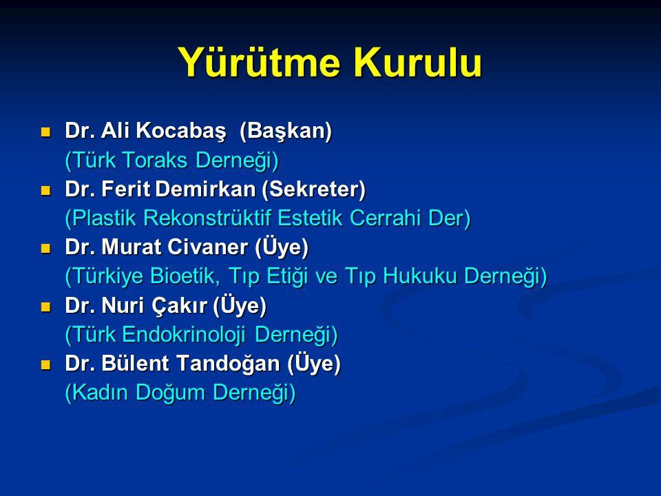 Yürütme Kurulu  Dr.Ali Kocabaş (Başkan) (Türk Toraks Derneği)  Dr.