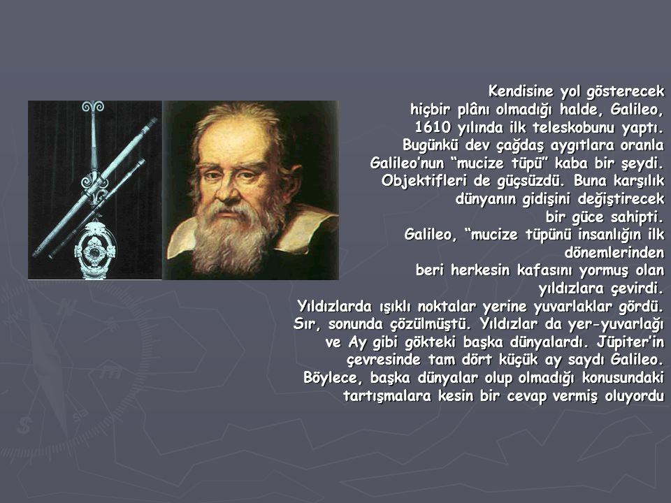 Kendisine yol gösterecek Kendisine yol gösterecek hiçbir plânı olmadığı halde, Galileo, hiçbir plânı olmadığı halde, Galileo, 1610 yılında ilk telesko