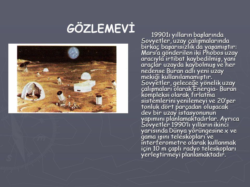 19901ı yılların başlarında Sovyetler, uzay çalışmalarında birkaç başarısızlık da yaşamıştır: Mars'a gönderilen iki Phobos uzay aracıyla irtibat kaybed