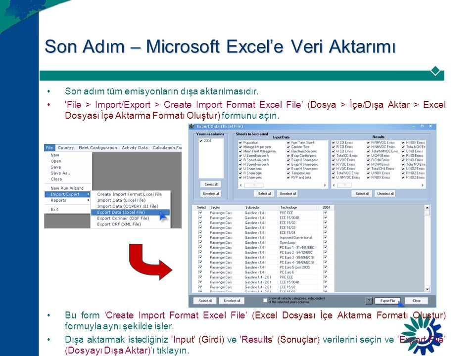 Son Adım – Microsoft Excel'e Veri Aktarımı •Son adım tüm emisyonların dışa aktarılmasıdır. •'File > Import/Export > Create Import Format Excel File' (