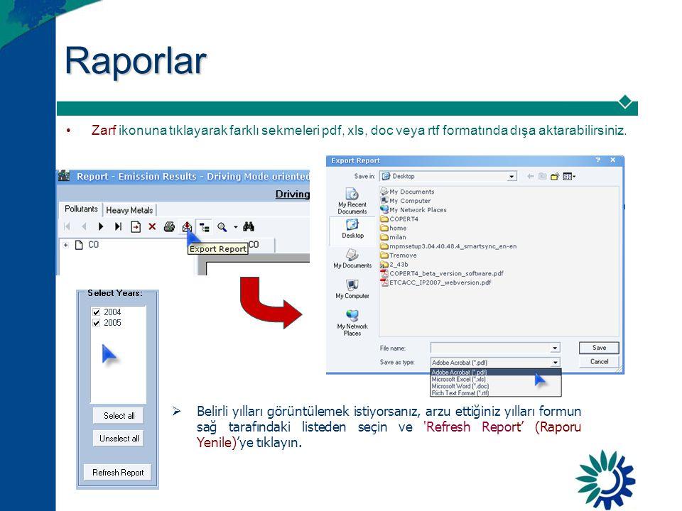 Raporlar •Zarf ikonuna tıklayarak farklı sekmeleri pdf, xls, doc veya rtf formatında dışa aktarabilirsiniz.  Belirli yılları görüntülemek istiyorsanı