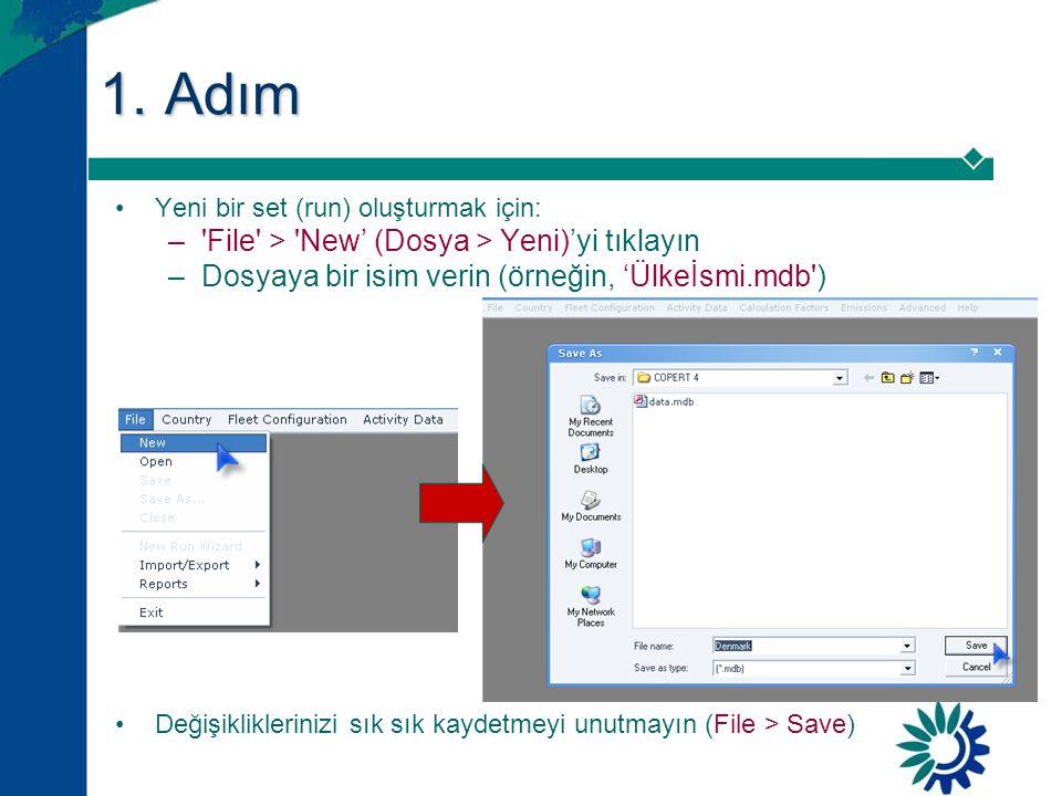 1. Adım •Yeni bir set (run) oluşturmak için: –'File' > 'New' (Dosya > Yeni)'yi tıklayın –Dosyaya bir isim verin (örneğin, 'Ülkeİsmi.mdb') •Değişiklikl