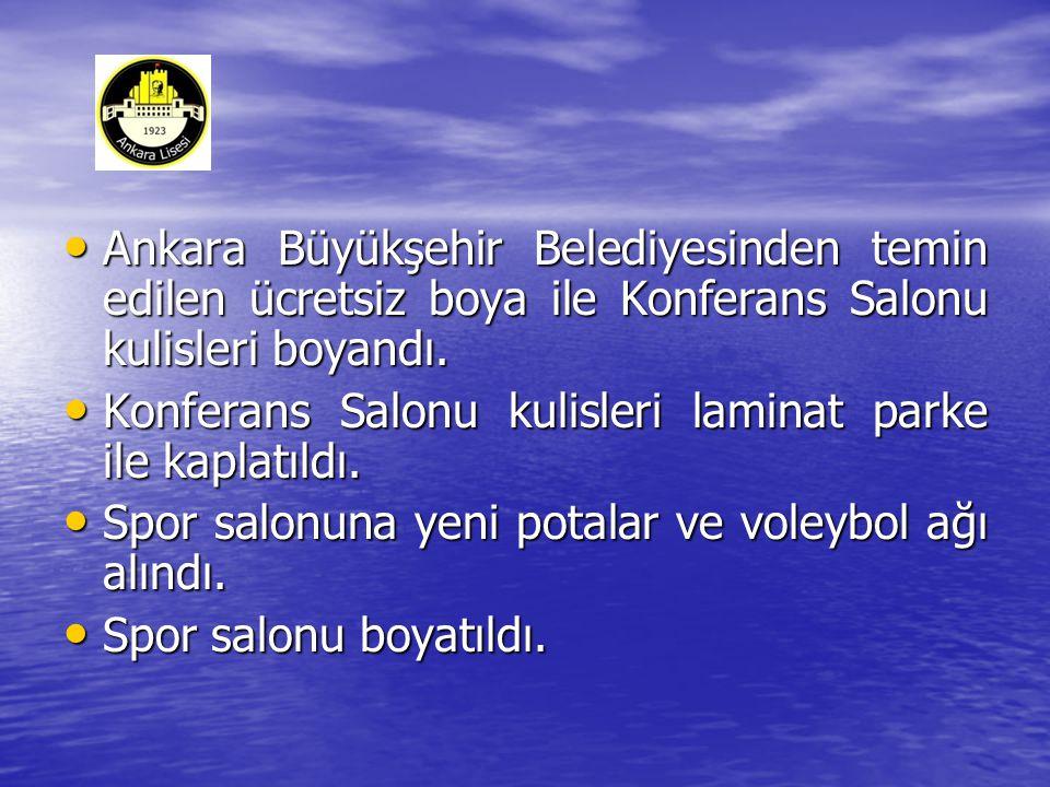 • Ankara Büyükşehir Belediyesinden temin edilen ücretsiz boya ile Konferans Salonu kulisleri boyandı.