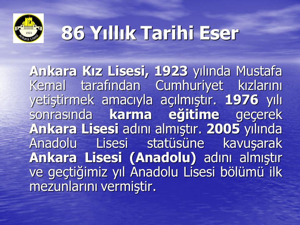 86 Yıllık Tarihi Eser Ankara Kız Lisesi, 1923 yılında Mustafa Kemal tarafından Cumhuriyet kızlarını yetiştirmek amacıyla açılmıştır.