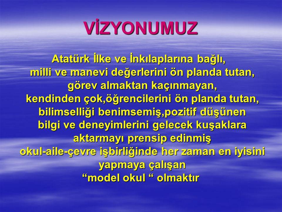 VİZYONUMUZ Atatürk İlke ve İnkılaplarına bağlı, milli ve manevi değerlerini ön planda tutan, görev almaktan kaçınmayan, kendinden çok,öğrencilerini ön