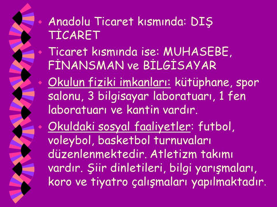w Anadolu Ticaret kısmında: DIŞ TİCARET w Ticaret kısmında ise: MUHASEBE, FİNANSMAN ve BİLGİSAYAR w Okulun fiziki imkanları: kütüphane, spor salonu, 3