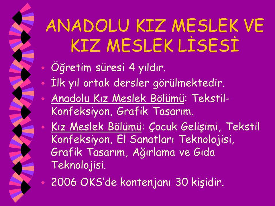 ANADOLU KIZ MESLEK VE KIZ MESLEK LİSESİ w Öğretim süresi 4 yıldır. w İlk yıl ortak dersler görülmektedir. w Anadolu Kız Meslek Bölümü: Tekstil- Konfek