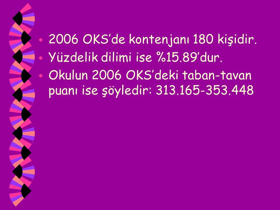 w 2006 OKS'de kontenjanı 180 kişidir. w Yüzdelik dilimi ise %15.89'dur. w Okulun 2006 OKS'deki taban-tavan puanı ise şöyledir: 313.165-353.448