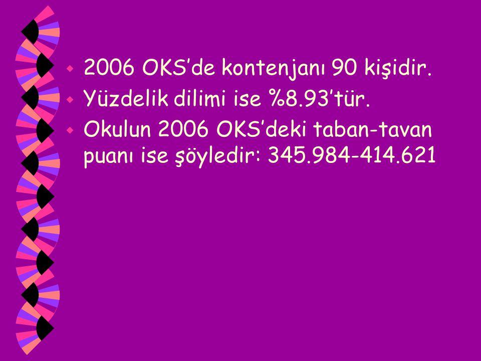 w 2006 OKS'de kontenjanı 90 kişidir. w Yüzdelik dilimi ise %8.93'tür. w Okulun 2006 OKS'deki taban-tavan puanı ise şöyledir: 345.984-414.621