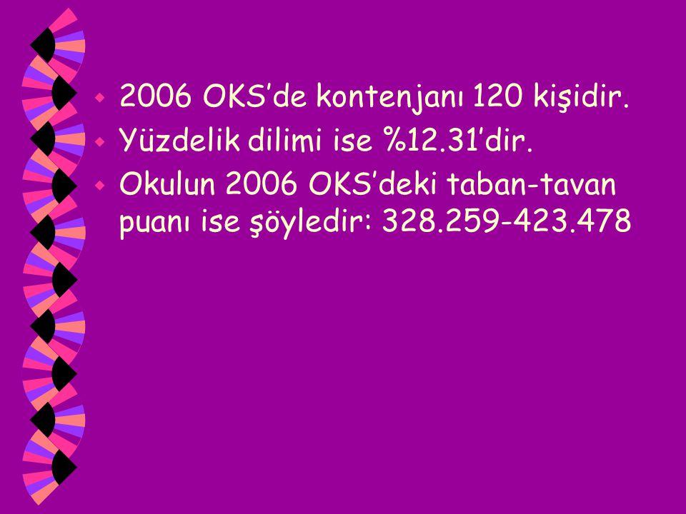 w 2006 OKS'de kontenjanı 120 kişidir. w Yüzdelik dilimi ise %12.31'dir. w Okulun 2006 OKS'deki taban-tavan puanı ise şöyledir: 328.259-423.478