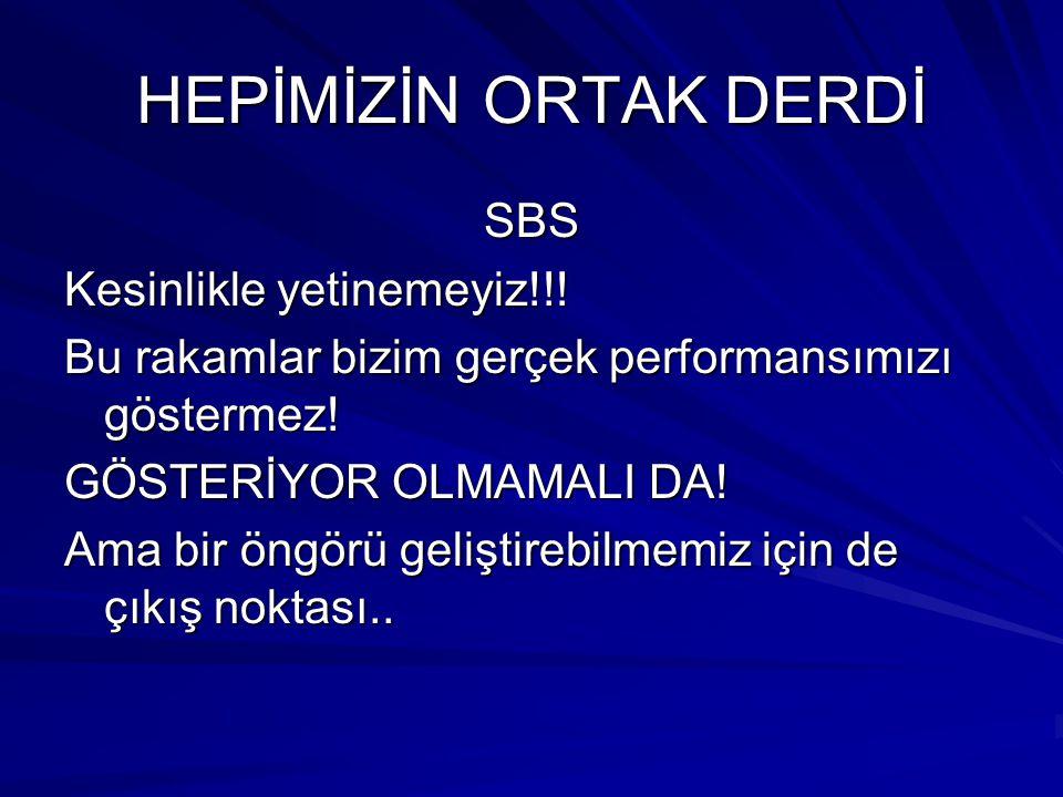 HEPİMİZİN ORTAK DERDİ SBS Kesinlikle yetinemeyiz!!! Bu rakamlar bizim gerçek performansımızı göstermez! GÖSTERİYOR OLMAMALI DA! Ama bir öngörü gelişti