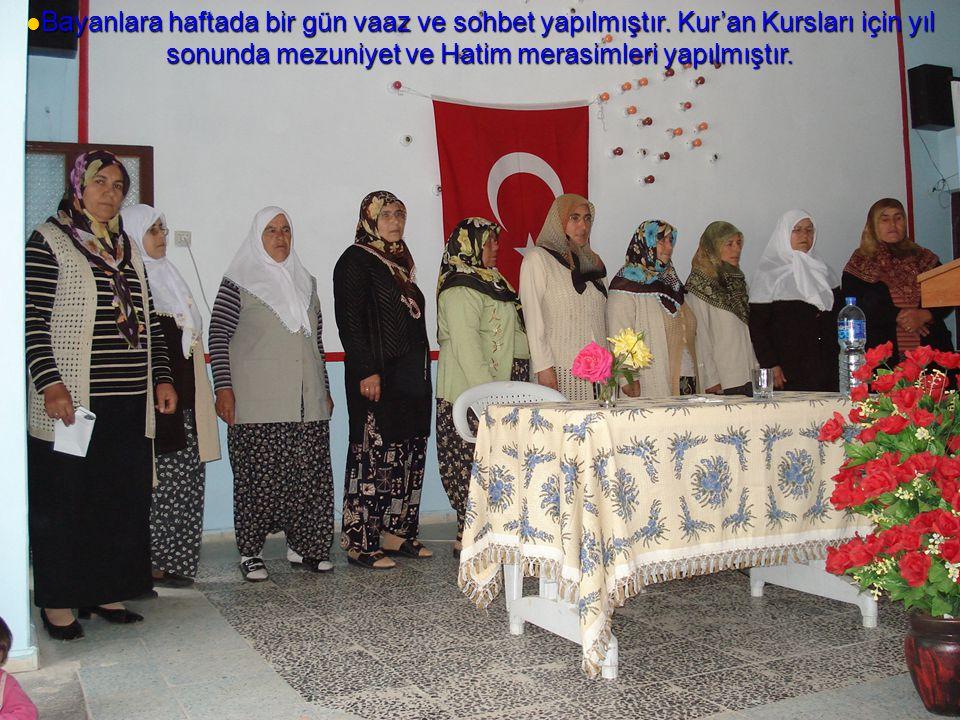  Bayanlara haftada bir gün vaaz ve sohbet yapılmıştır. Kur'an Kursları için yıl sonunda mezuniyet ve Hatim merasimleri yapılmıştır.