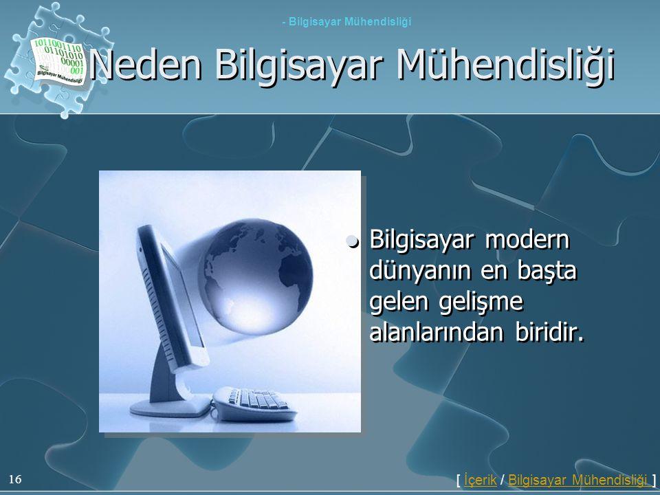 16  Bilgisayar modern dünyanın en başta gelen gelişme alanlarından biridir. Neden Bilgisayar Mühendisliği - Bilgisayar Mühendisliği [ İçerik / Bilgis
