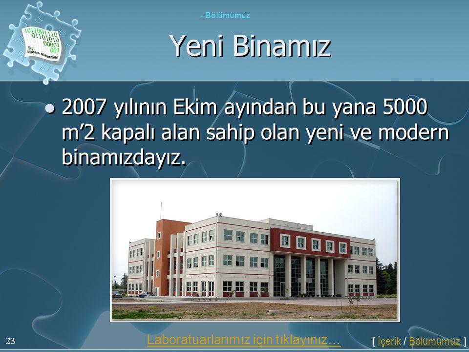 23 Yeni Binamız - Bölümümüz  2007 yılının Ekim ayından bu yana 5000 m'2 kapalı alan sahip olan yeni ve modern binamızdayız. [ İçerik / Bölümümüz ]İçe