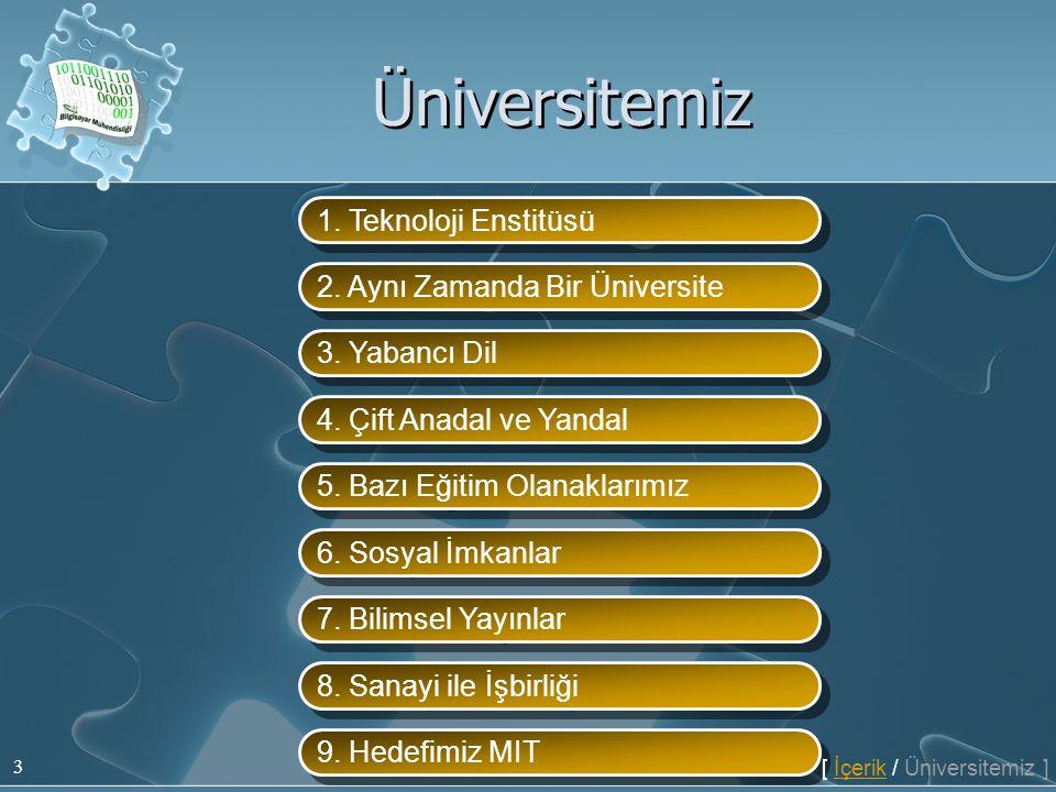 3 1. Teknoloji Enstitüsü 2. Aynı Zamanda Bir Üniversite 3. Yabancı Dil 4. Çift Anadal ve Yandal 5. Bazı Eğitim Olanaklarımız 6. Sosyal İmkanlar 7. Bil
