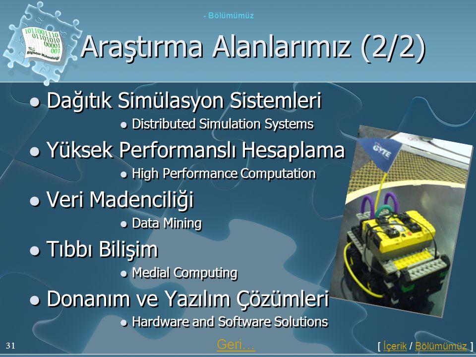 31 Araştırma Alanlarımız (2/2)  Dağıtık Simülasyon Sistemleri  Distributed Simulation Systems  Yüksek Performanslı Hesaplama  High Performance Com