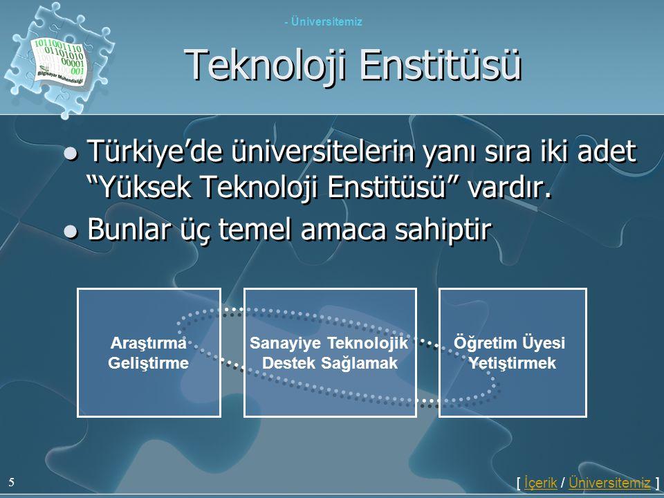 """5 Teknoloji Enstitüsü  Türkiye'de üniversitelerin yanı sıra iki adet """"Yüksek Teknoloji Enstitüsü"""" vardır.  Bunlar üç temel amaca sahiptir  Türkiye'"""