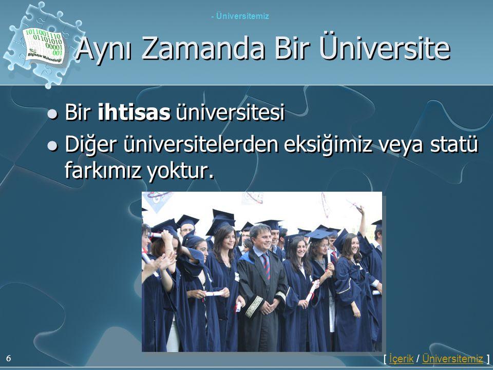 6 Aynı Zamanda Bir Üniversite  Bir ihtisas üniversitesi  Diğer üniversitelerden eksiğimiz veya statü farkımız yoktur.  Bir ihtisas üniversitesi  D