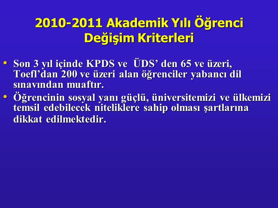 2010-2011 Akademik Yılı Öğrenci Değişim Kriterleri • Son 3 yıl içinde KPDS ve ÜDS' den 65 ve üzeri, Toefl'dan 200 ve üzeri alan öğrenciler yabancı dil