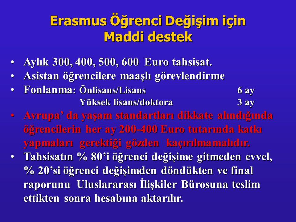 Erasmus Öğrenci Değişim için Maddi destek •Aylık 300, 400, 500, 600 Euro tahsisat. •Asistan öğrencilere maaşlı görevlendirme •Fonlanma : Önlisans/Lisa