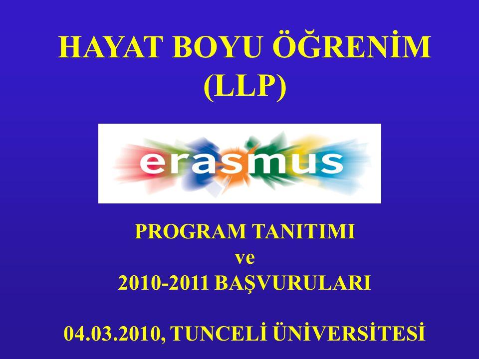HAYAT BOYU ÖĞRENİM (LLP) PROGRAM TANITIMI ve 2010-2011 BAŞVURULARI 04.03.2010, TUNCELİ ÜNİVERSİTESİ
