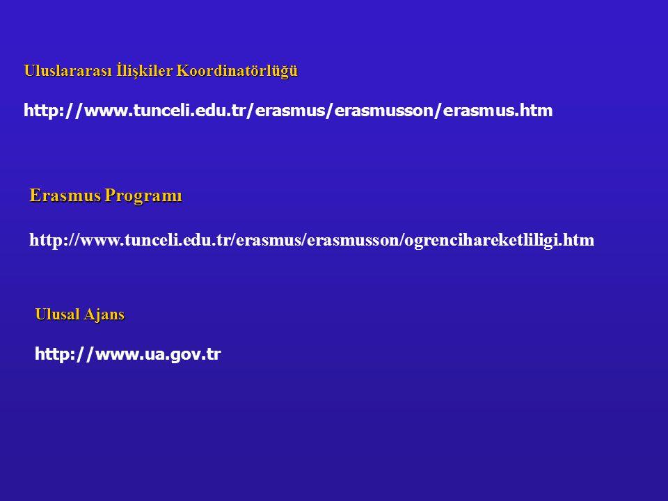 Erasmus Programı http://www.tunceli.edu.tr/erasmus/erasmusson/ogrencihareketliligi.htm Uluslararası İlişkiler Koordinatörlüğü http://www.tunceli.edu.t