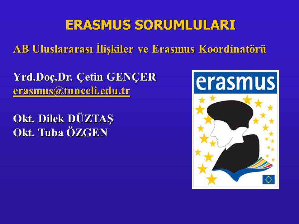 Erasmus Öğrenci Değişim için Maddi destek •Aylık 300, 400, 500, 600 Euro tahsisat.