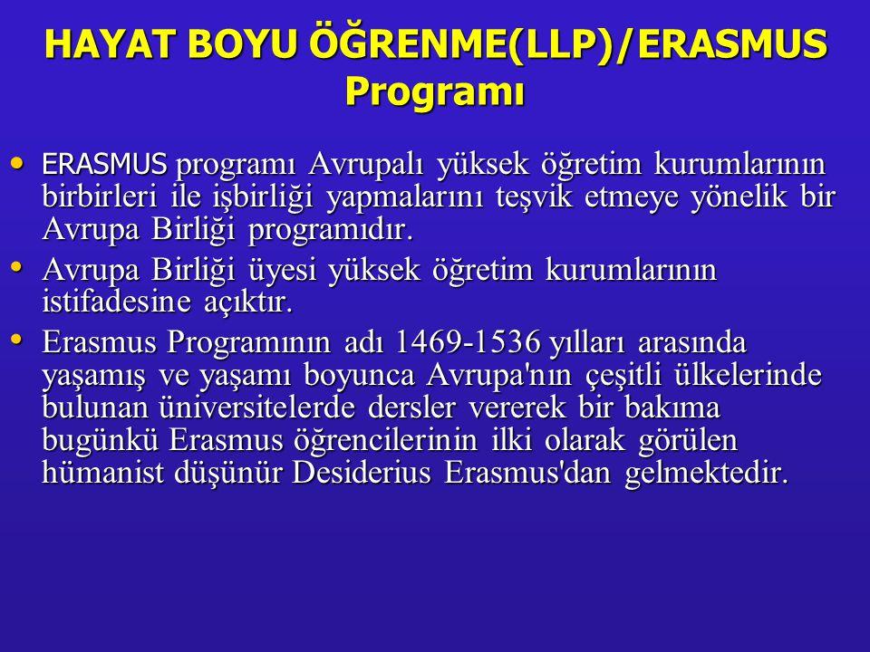 HAYAT BOYU ÖĞRENME(LLP)/ERASMUS Programı • ERASMUS programı Avrupalı yüksek öğretim kurumlarının birbirleri ile işbirliği yapmalarını teşvik etmeye yö