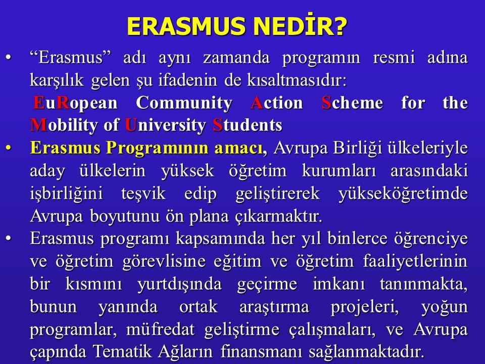 """•""""Erasmus"""" adı aynı zamanda programın resmi adına karşılık gelen şu ifadenin de kısaltmasıdır: EuRopean Community Action Scheme for the Mobility of Un"""