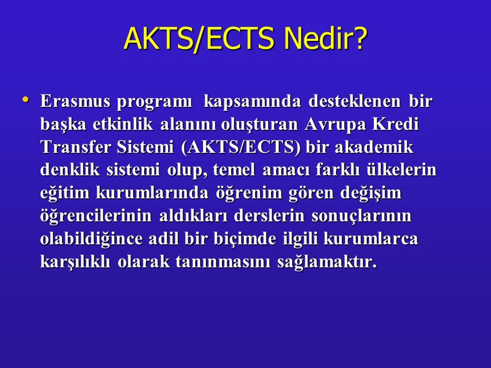 AKTS/ECTS Nedir? • Erasmus programı kapsamında desteklenen bir başka etkinlik alanını oluşturan Avrupa Kredi Transfer Sistemi (AKTS/ECTS) bir akademik
