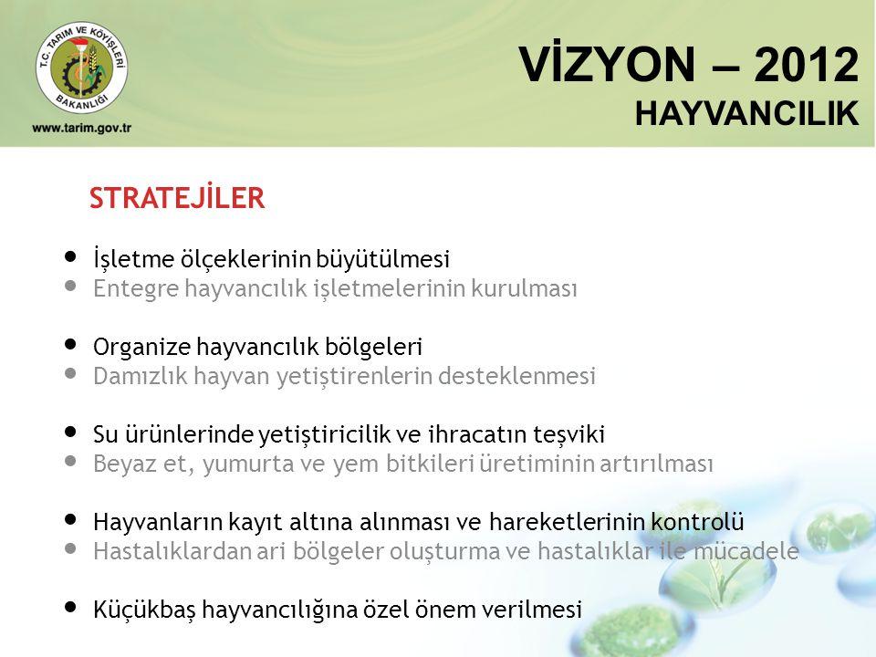VİZYON – 2012 HAYVANCILIK STRATEJİLER • İşletme ölçeklerinin büyütülmesi • Entegre hayvancılık işletmelerinin kurulması • Organize hayvancılık bölgele