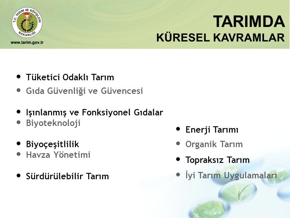 TARIMDA KÜRESEL KAVRAMLAR • Enerji Tarımı • Organik Tarım • Topraksız Tarım • İyi Tarım Uygulamaları • Tüketici Odaklı Tarım • Gıda Güvenliği ve Güven