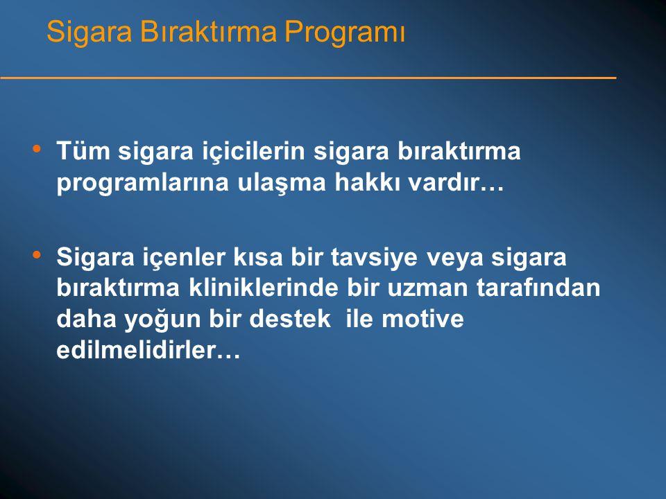 Sigara Bıraktırma Programı • Tüm sigara içicilerin sigara bıraktırma programlarına ulaşma hakkı vardır… • Sigara içenler kısa bir tavsiye veya sigara