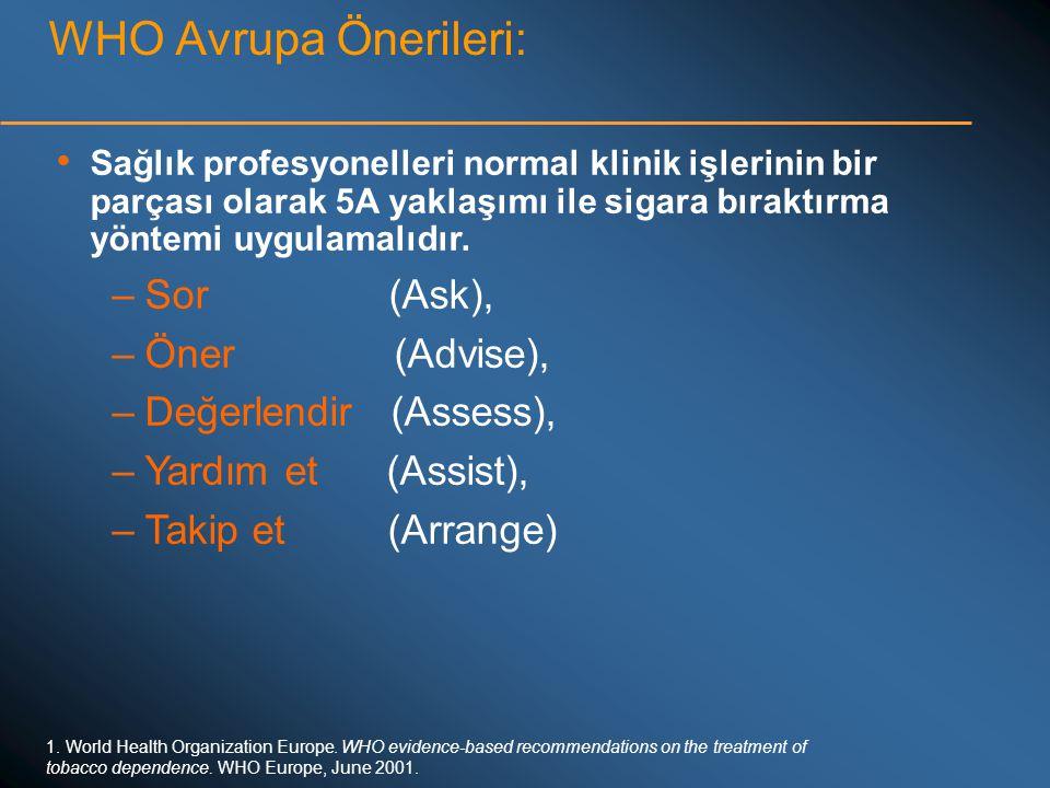 WHO Avrupa Önerileri: • Sağlık profesyonelleri normal klinik işlerinin bir parçası olarak 5A yaklaşımı ile sigara bıraktırma yöntemi uygulamalıdır. –S