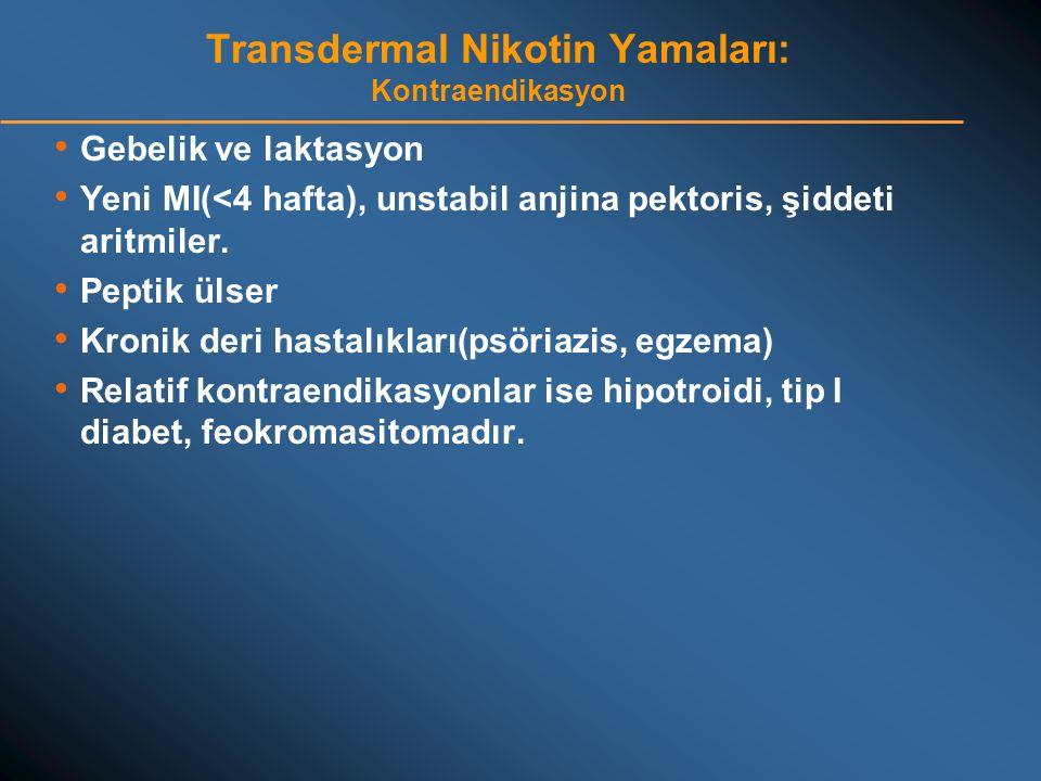 Transdermal Nikotin Yamaları: Kontraendikasyon • Gebelik ve laktasyon • Yeni MI(<4 hafta), unstabil anjina pektoris, şiddeti aritmiler. • Peptik ülser