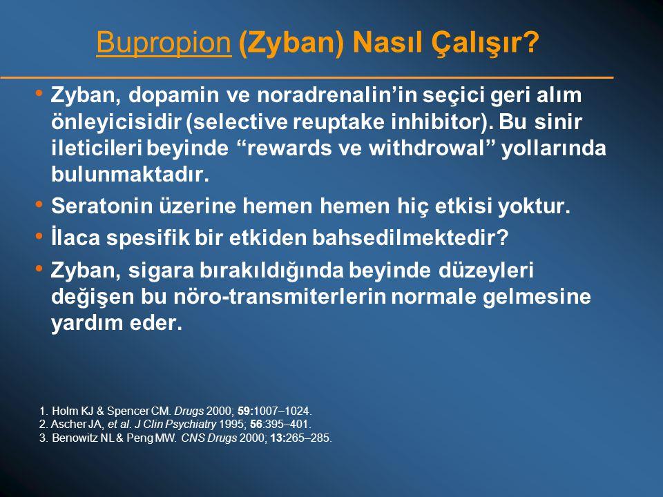 Bupropion (Zyban) Nasıl Çalışır? • Zyban, dopamin ve noradrenalin'in seçici geri alım önleyicisidir (selective reuptake inhibitor). Bu sinir ileticile