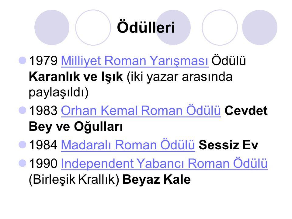 Ödülleri  1979 Milliyet Roman Yarışması Ödülü Karanlık ve Işık (iki yazar arasında paylaşıldı)Milliyet Roman Yarışması  1983 Orhan Kemal Roman Ödülü