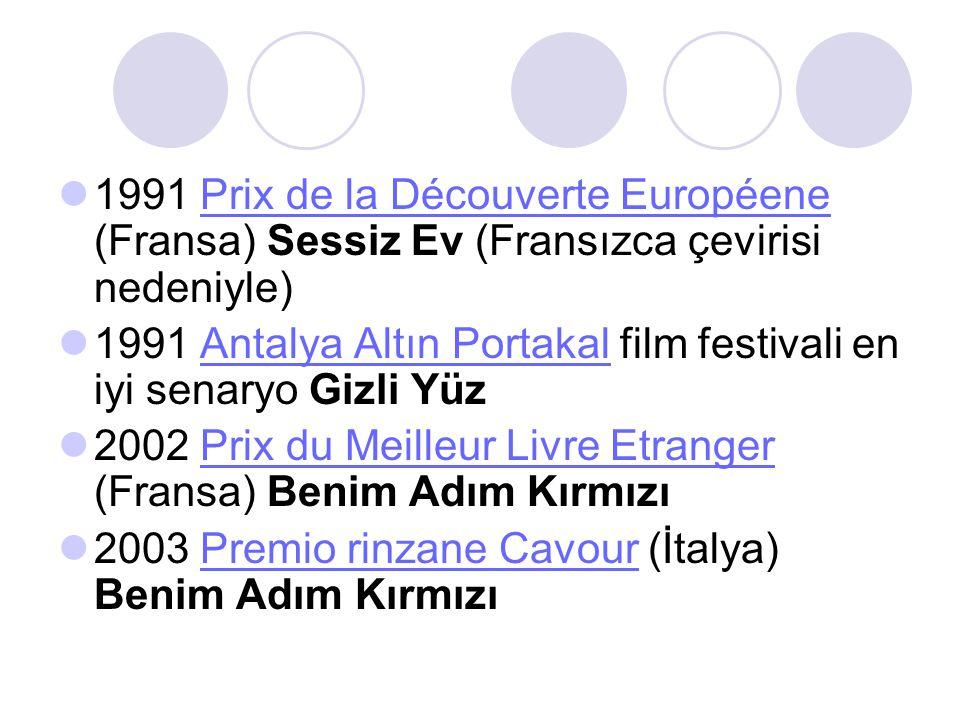  1991 Prix de la Découverte Européene (Fransa) Sessiz Ev (Fransızca çevirisi nedeniyle)Prix de la Découverte Européene  1991 Antalya Altın Portakal