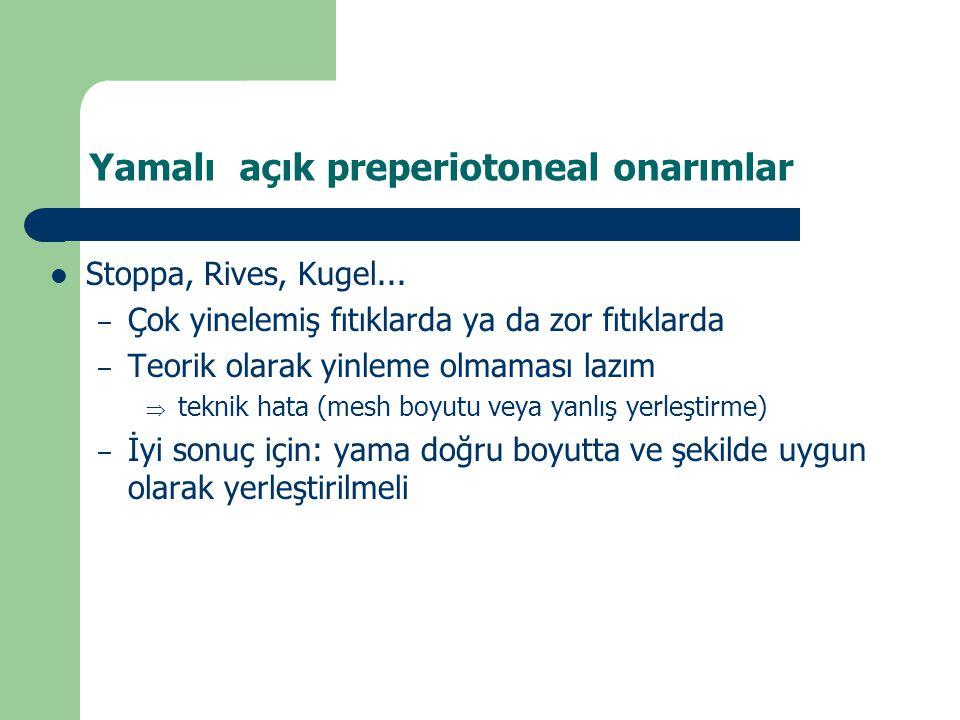 Yamalı açık preperiotoneal onarımlar  Stoppa, Rives, Kugel...