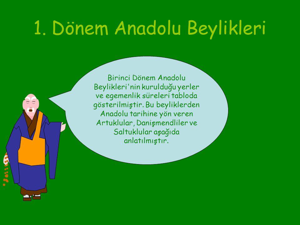 1. Dönem Anadolu Beylikleri Bu beylikler, Büyük Selçuklu Devleti'ne bağlıydı, ama bağımsız yönetiliyordu. 13. yüzyılda Anadolu'nun büyük bölümüne egem