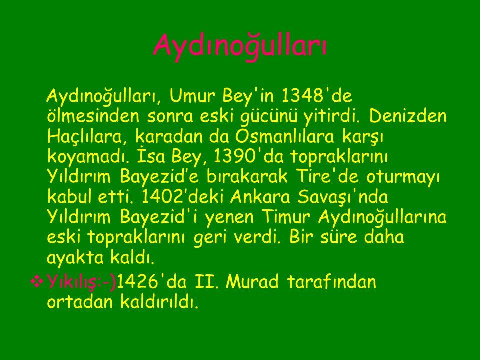 Aydınoğulları Mehmed Bey'in 1334'te ölümü üzerine beyliğin başına oğlu Umur Bey geçti. Umur Bey Selçuk ve İzmir'de tersaneler kurdu ve donanmasını güç