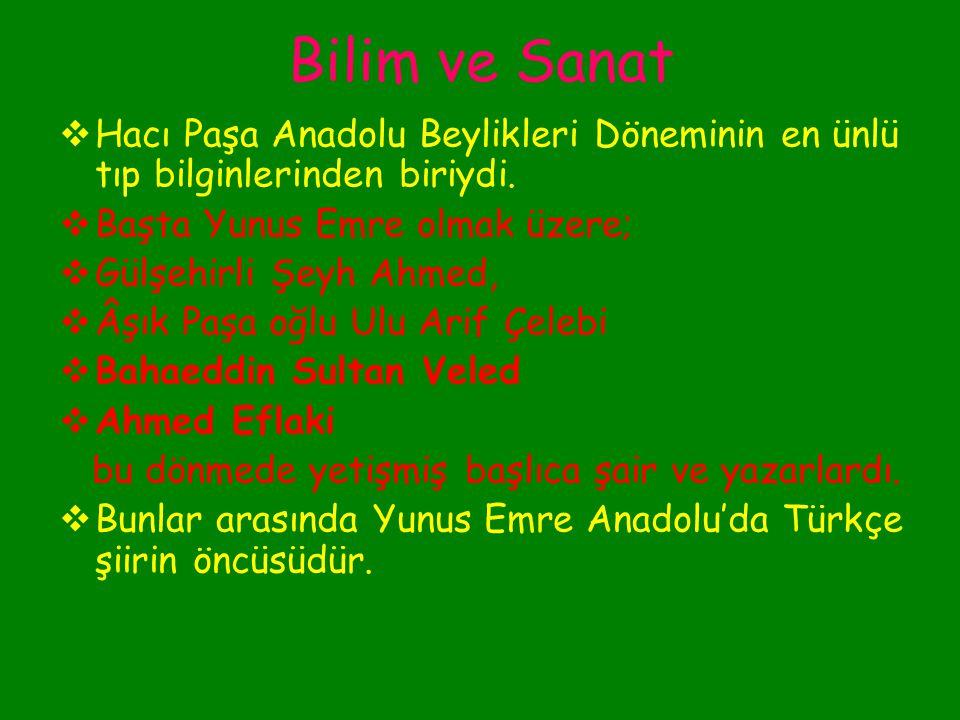 Bilim ve Sanat Anadolu beylikleri döneminde özellikle Konya, Kayseri ve Kastamonu birer bilim ve sanat merkeziydi. Bilimler arasında en çok tıp gelişm